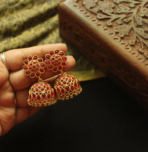 Traditional Ruby Stoned Jhumka