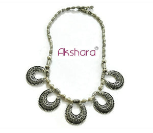 Oxidized silver beaded charm neckpieces