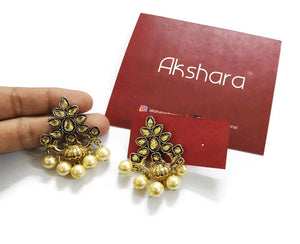 Stone lamp gold Pearl Earrings (Brown, Red)