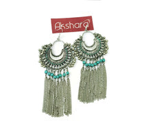 Silver chained blue chandbali earrings