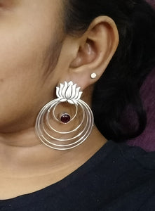Lotus silver multiple loop earrings