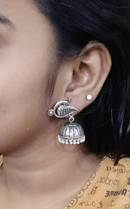 Peacock Silver Lined Jhumka