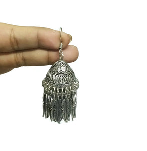 Feather charm silver jhumka