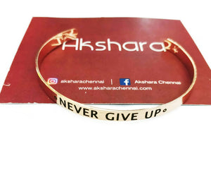 Never give up cuff bracelet