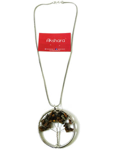 Silver tree brown stone Neckpiece