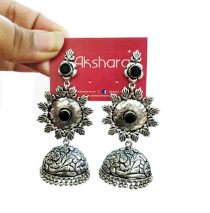 Three layer flower stone silver jhumka