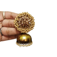 Festive Bunch gold stone Pearl jhumka