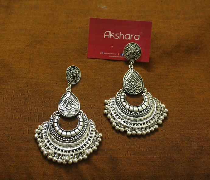 Silver chaand ghungroo earrings
