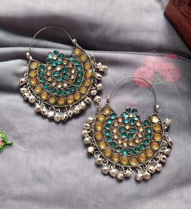 Oversized  blue-yellow chandbali earrings