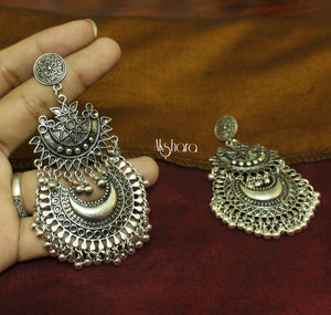 Silver flower chandbali earrings