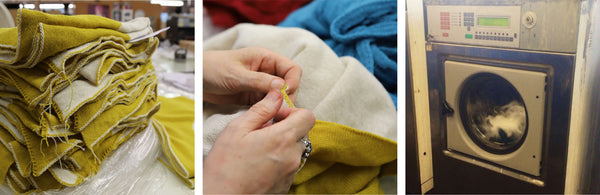 tullibee blankets being hand sewn & washed & dried to finish