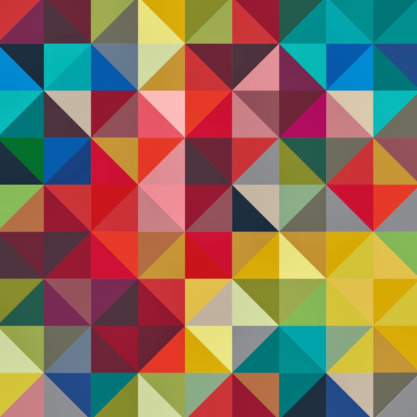 tullibee jules geometric triangle/squares print design in rainbow colours