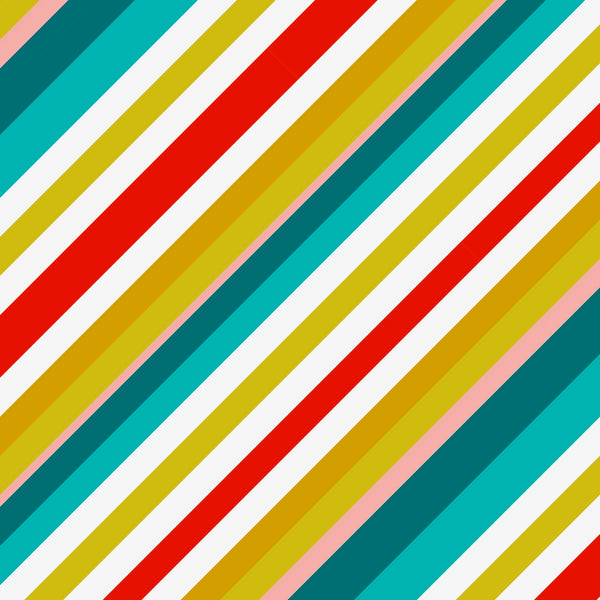 tullibee milo retro diagonal varying width stripe cushion design in tones of aqua, red, pink, mustards & white