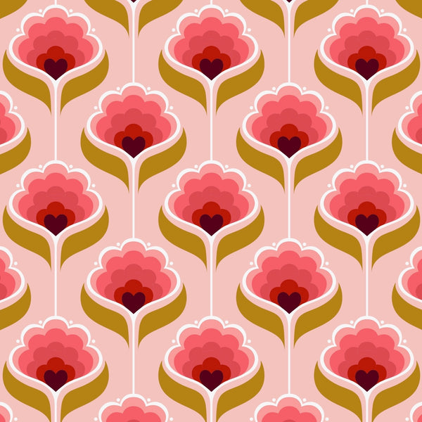 tullibee mini margot retro floral print design in cherry, flamingo & mustard colours