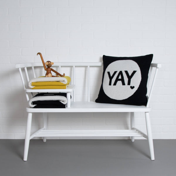 tullibee knitted cushion YAY black ercol bench