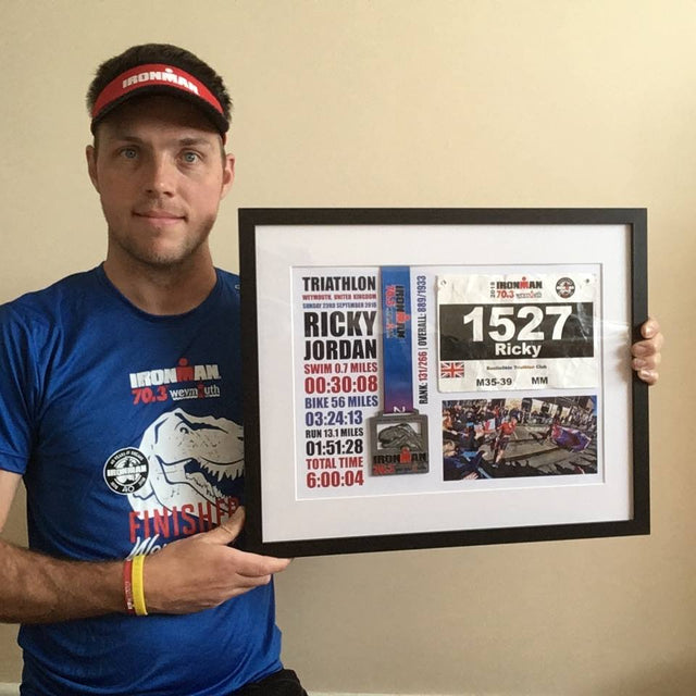 Framed Ironman Triathlon Medal with race number and photo
