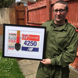 Framed London Marathon Medal with race number