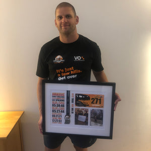 Votwo Jurassic Coast Challenge Framed Medal and race number with photo