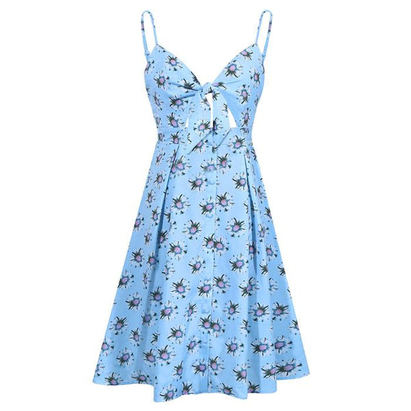 Blue Flowers Tie Front V-Neck Spaghetti Strap Button Down A-Line Backless Swing Midi Dress
