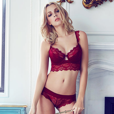Sexy Lace Sheer Underwire Bra Set with Lightly Lined Bralette & Panty
