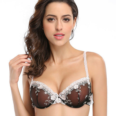 Sexy Unlined Lace See-through Bra Set with Demi Bralette & Panty Essential for couples