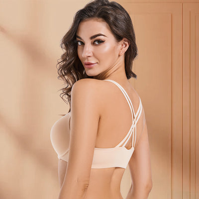 Women's Velvet Lightly Padded Underwire Bandeau Strapless Bra