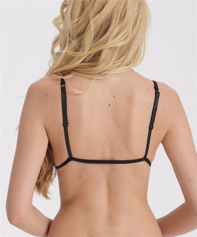 Sexy Unlined See-through Triangle Bralette Black White Nude Lace Front closer Bra