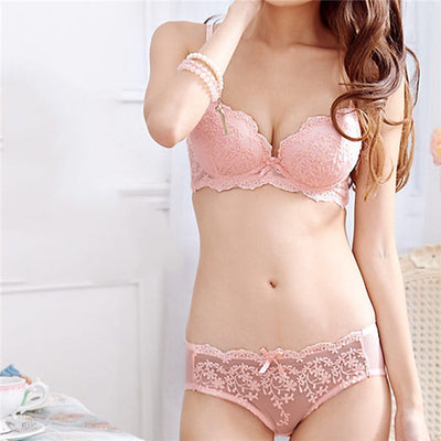 Lace Embroidered Underwire Bra Set with Removable Lined Push Up Demi Bra & Panty
