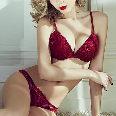 Lace Embroidered Underwire Bra Set with Lined Push Up Demi Bra & Panty