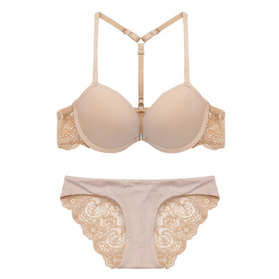 Front Closure Underwire Bra Set with T Back Lace Push Up Demi Bra & Panty