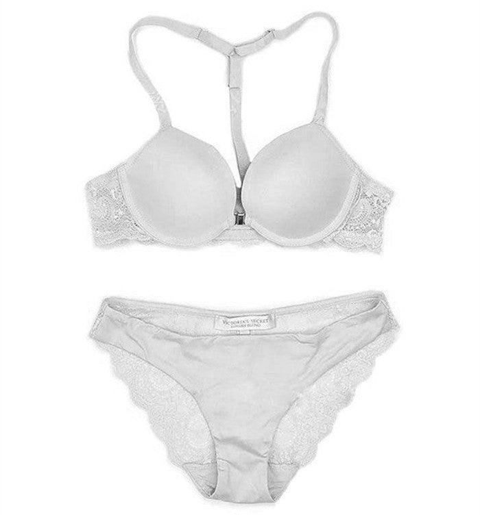 51417881a6 Front Closure Underwire Bra Set with T Back Lace Push Up Demi Bra   Panty