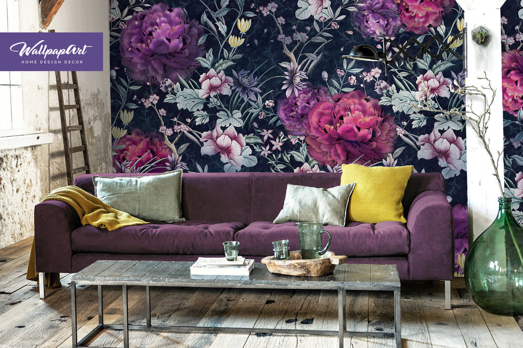 ... Temporary Peel and Stick Wall Art Self Adhesive Wall Mural #22 ... & Peony Wallpaper Temporary Peel and Stick Wall Art Self Adhesive ...