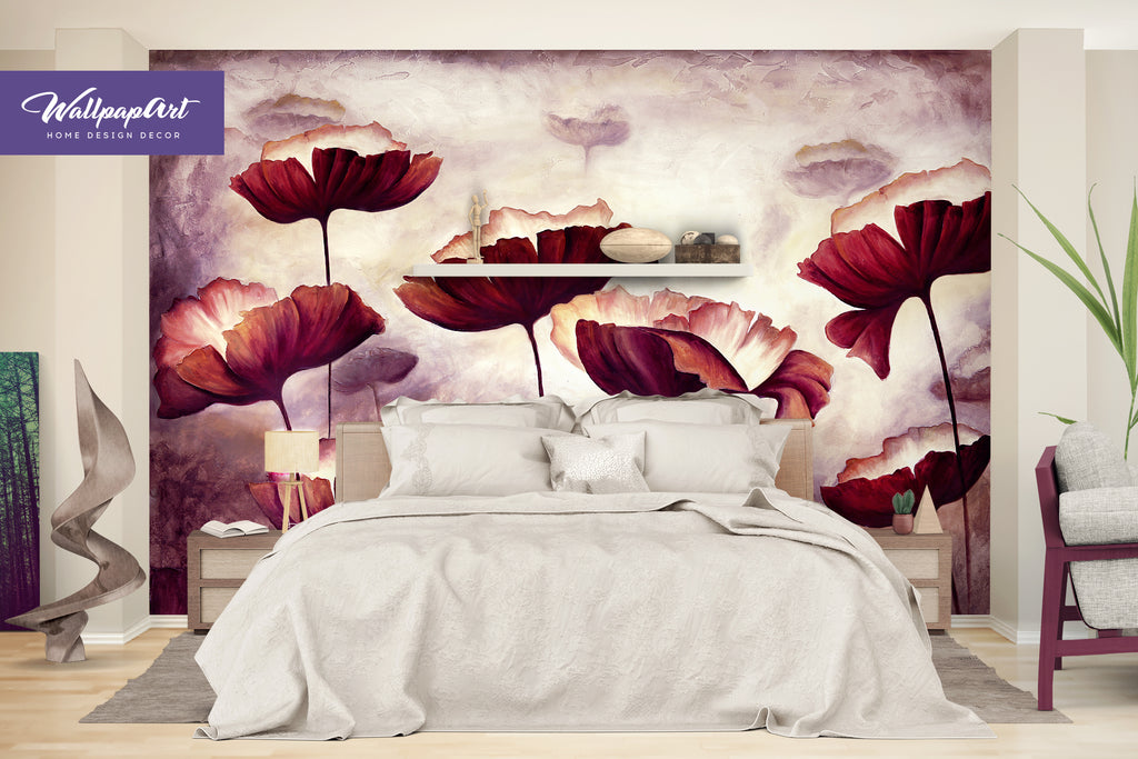 Oil Painting Poppies Wall Mural Self Adhesive Wall Art Removable