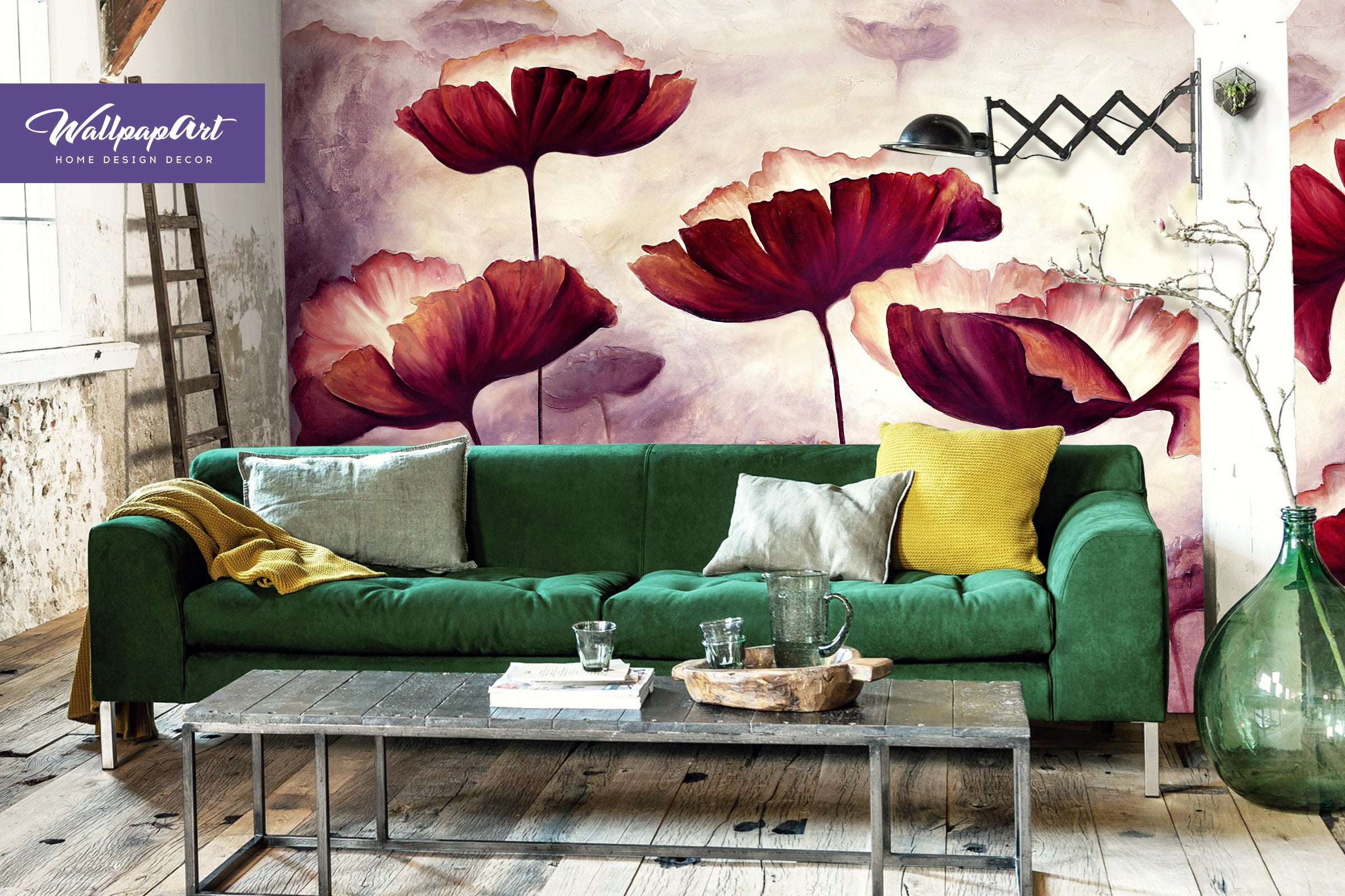Elegant Oil Painting Poppies Wall Mural, Self Adhesive Wall Art, Removable Art  Wallpaper, Temporary