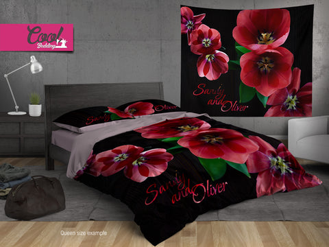 Red Tulip Bedding Sets, Personalized Bed Covers, Floral Duvet Covers 143   Cool  Bedding