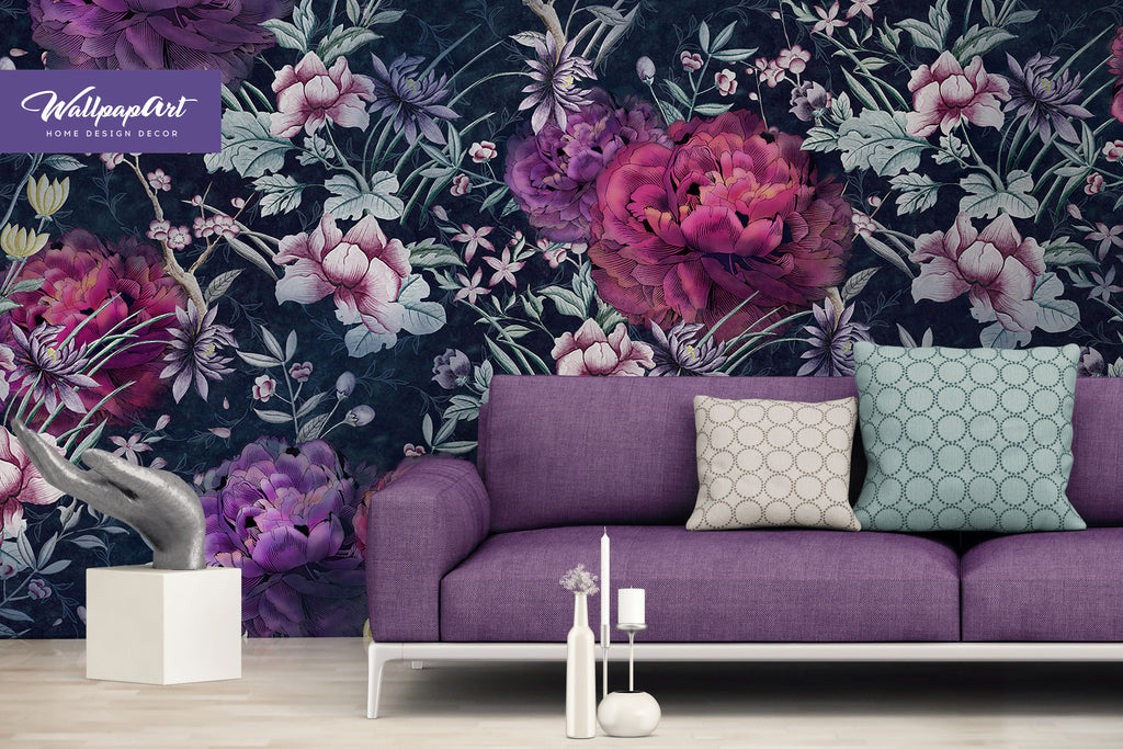 Peony Wallpaper Temporary Peel and Stick Wall Art Self Adhesive