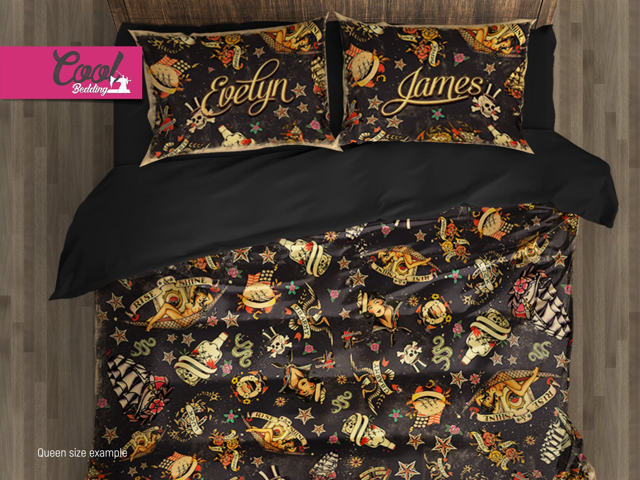 Vintage Tattoo Bedding Sets, Amercan Retro Duvet Covers, Tattoo Bed Covers  145   Cool