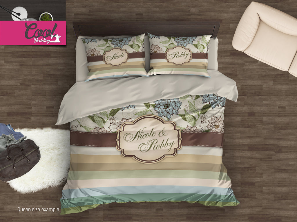 ... Custom Monogrammed Bedding Sets, Personalized Duvet Cover Set, Flower  Vintage Bed Covers Twin, ...