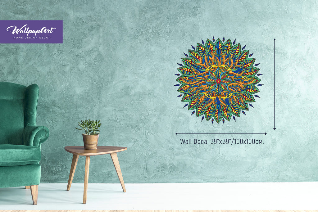 Sunshine Mandala Wallpaper Self Adhesive Wall Decal Removable Mural 07
