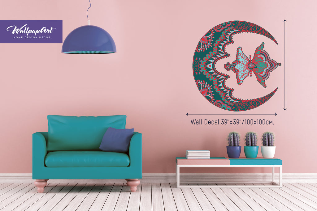 Moon Mandala Wall Decal Temporary Peel And Stick Art Removable Mural