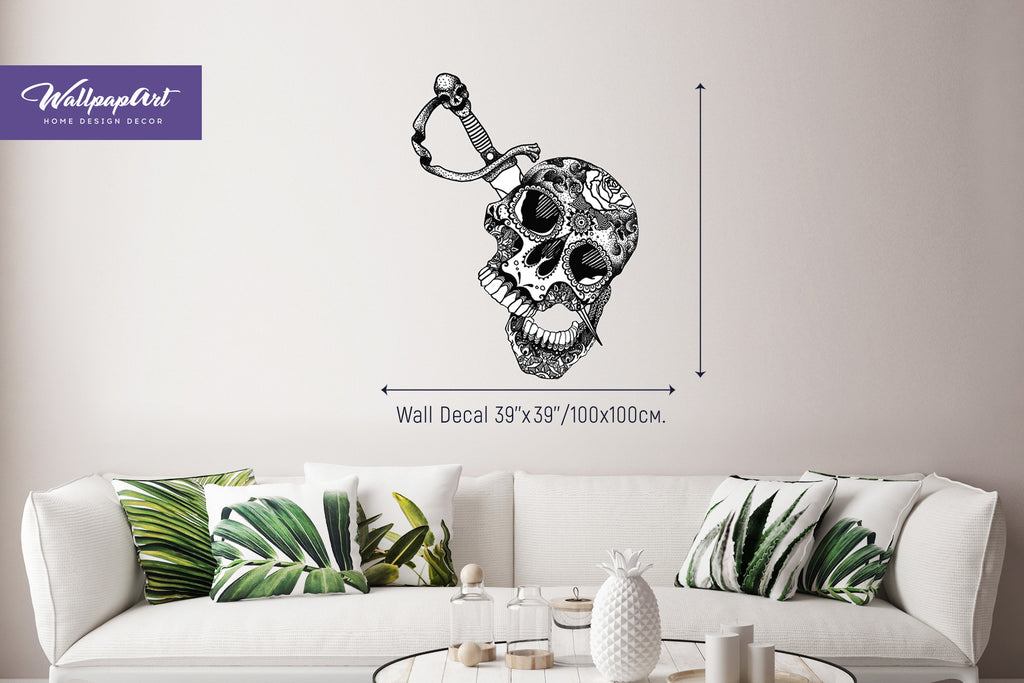 BW Skull Wall Decal Self Adhesive Wall Decal Removable Wall Mural