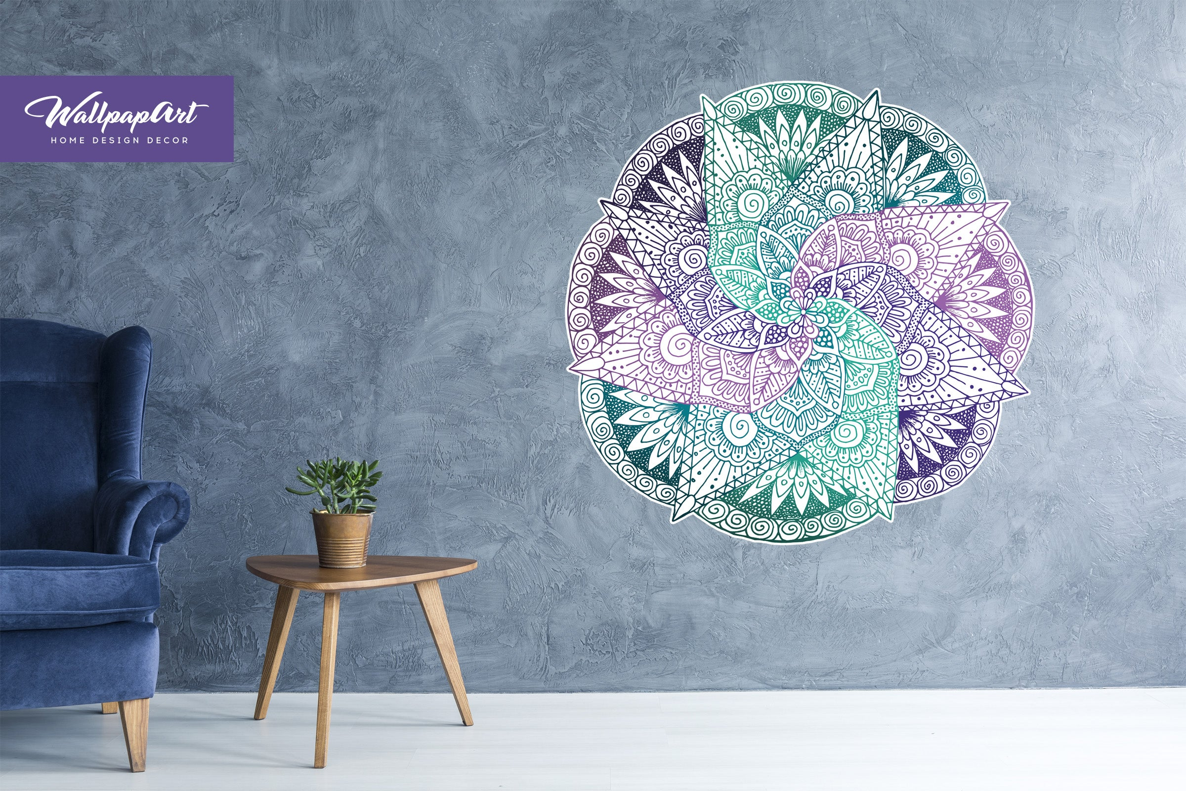 Light Spiral Mandala Wall Mural Self Adhesive Wall Decal Removable