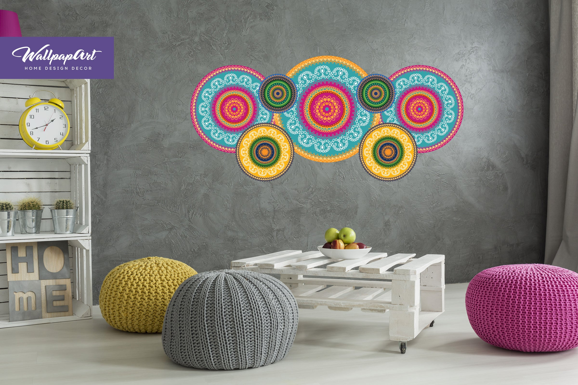 Hippie Mandala Wall Decal Self Adhesive Wallpaper Removable Mural 06