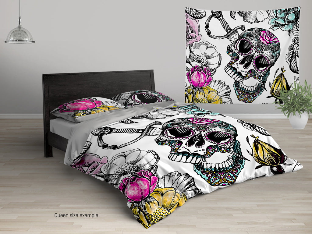 sugar skull color custom personalized duvet cover or comforter