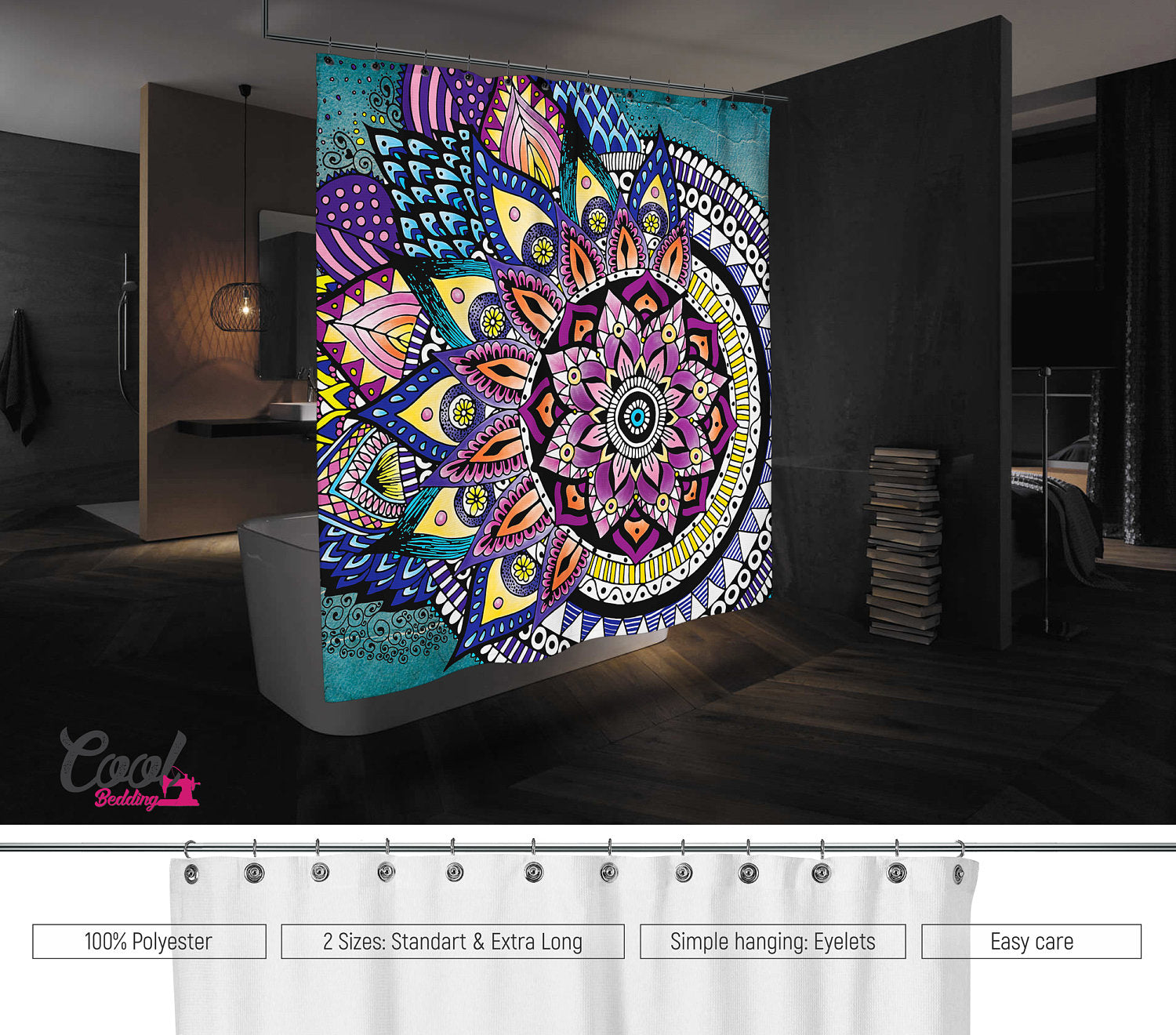 Asymmetric Style MANDALA Shower Curtain Bathroom Mandala Decor Bohemian Curtains