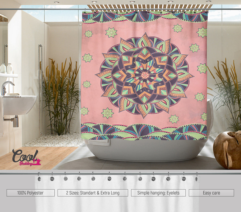 Gentle Mandala Shower Curtain Bohochic Curtains Bathroom Decor Bohemian