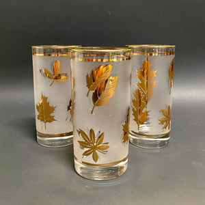 Frosted Tumblers with Gold Leaf Detail Set (3)