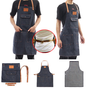 Denim Bartender Bib Apron - Leather Strap