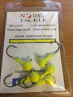 3/16 OUNCE ROUND HEAD JIG *5 PACK* BARBED COLLAR