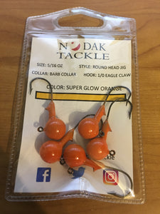 5/16 OUNCE ROUND HEAD JIG *5 PACK* BARBED COLLAR